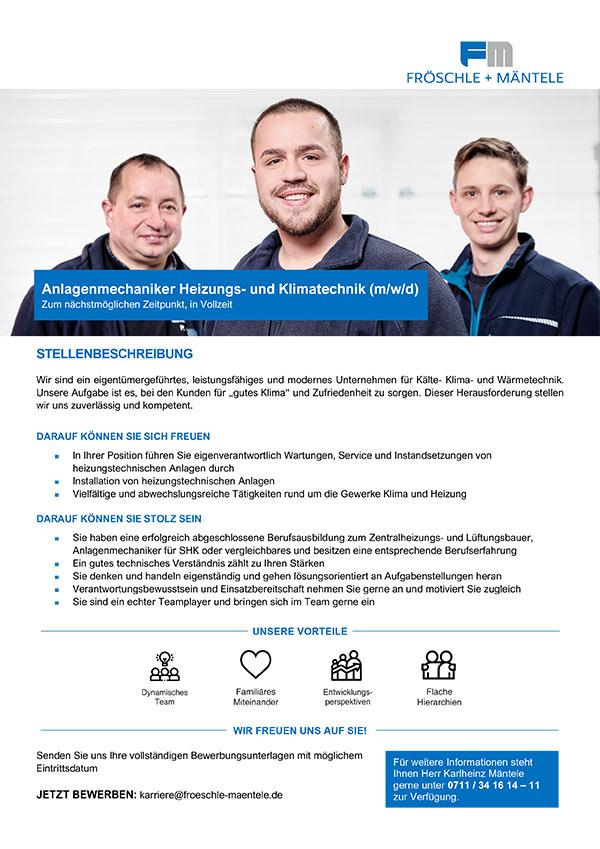 Anlagenmechaniker Heizungs- und Klimatechnik (m/w/d)